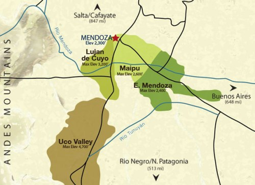 Mendoza's wine growing regions: map courtesy of Vine Connections