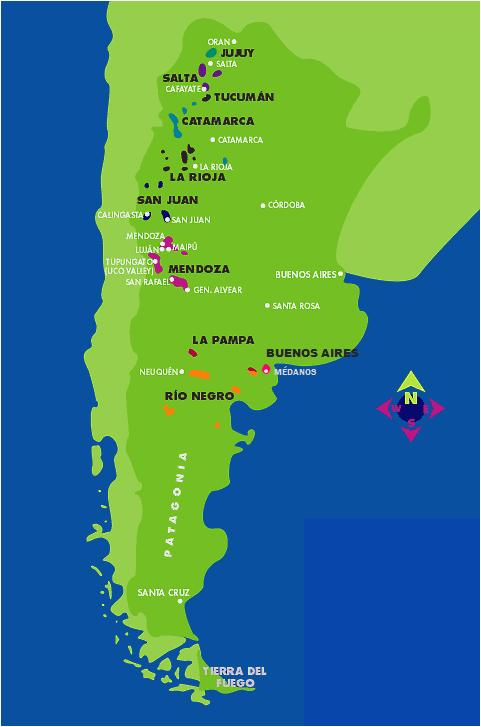 The wine growing regions of Argentina